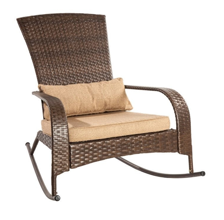 Most Recent Brown Patio Rocking Chairs Intended For Patio Flare Collection One Wicker Muskoka Rocking Chair – Brown (View 14 of 20)