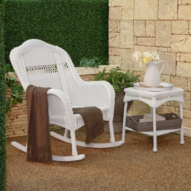 Most Recent Casco Bay Resin Wicker Rocking Chair Collection White Extra Wide Regarding White Resin Patio Rocking Chairs (View 6 of 20)