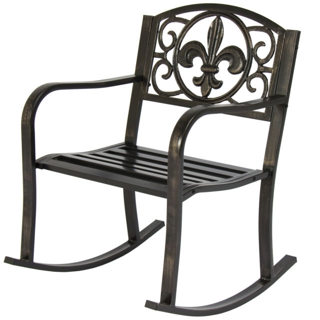 Most Recent Patio Rocking Chairs And Gliders Intended For Patio Rocking Chair Metal Outdoor Porch Furniture Rocker Seat Deck (View 10 of 20)