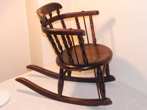 Most Recent Victorian Rocking Chairs Regarding Small Victorian Childs Oak Rocking Chair – Antiques Atlas (View 7 of 20)