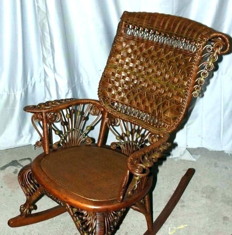 Most Recent Wicker Rocking Chair With Magazine Holder In Antique Wicker Chairs Vintage Furniture The Wood Rocking Chair With (View 11 of 20)