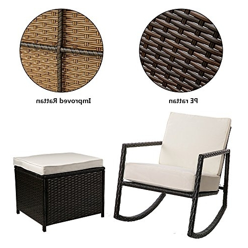Most Recent Wicker Rocking Chairs And Ottoman With Regard To Merax Rattan Rocker Chair Patio Wicker Rocking Armed Chair Outdoor (View 5 of 20)