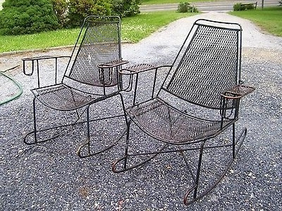 Most Recent Wrought Iron Patio Rocking Chairs Inside Vtg Mid Century Patio Wrought Iron Salterini Rocking Chairs Pair W (View 19 of 20)