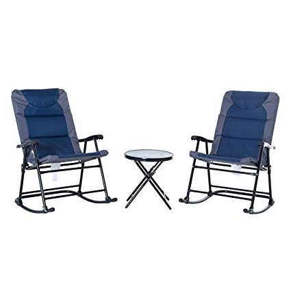 Most Recently Released Amazon: Outsunny 3 Piece Folding Outdoor Rocking Chair And Table Pertaining To Outdoor Rocking Chairs With Table (View 8 of 20)