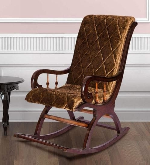 Most Recently Released Buy Rocking Chair In Dark Brown Colourkarigar Online – Rocking Pertaining To Rocking Chairs (View 2 of 20)
