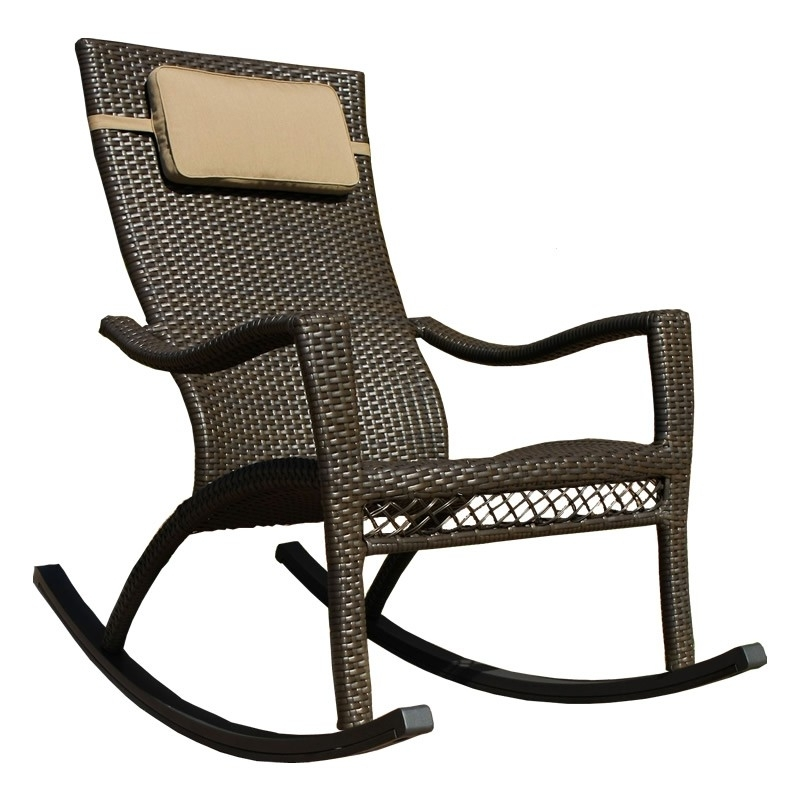 Most Recently Released Outdoor Patio Rocking Chairs In Tortuga Outdoor Tuscan Lorne Wicker Rocker – Wicker (View 2 of 20)