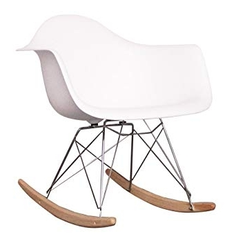 Most Recently Released Retro Rocking Chairs For Charles Eames Style Cool White Plastic Retro Rocking Chair: Amazon (View 8 of 20)