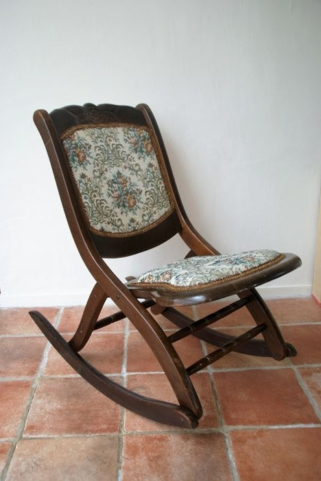 Most Recently Released Small Wooden Folding Rocking Chair, Hand Made, Upholstered In Within Folding Rocking Chairs (View 16 of 20)