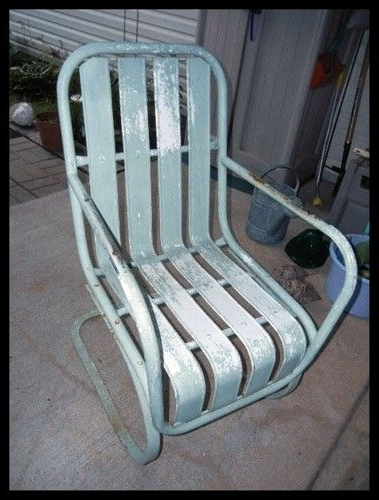 Most Recently Released Vintage Metal Rocking Patio Chairs Inside Vintage Antique Iron Metal Outdoor Rocking (Spring Up & Down) Lawn (View 10 of 20)
