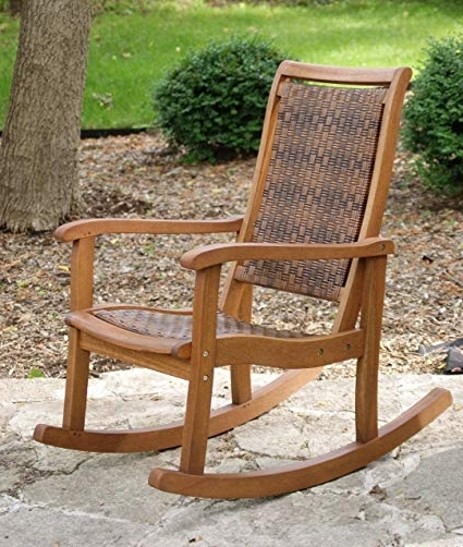 Most Up To Date Amazon : Outdoor Interiors 21095Rc All Weather Wicker Mocha And For Wooden Patio Rocking Chairs (View 13 of 20)