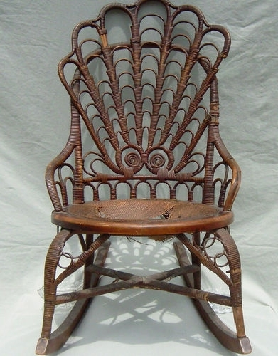 Most Up To Date Antique Rattan Wicker Rocking Chair Heywood Broth (View 19 of 20)
