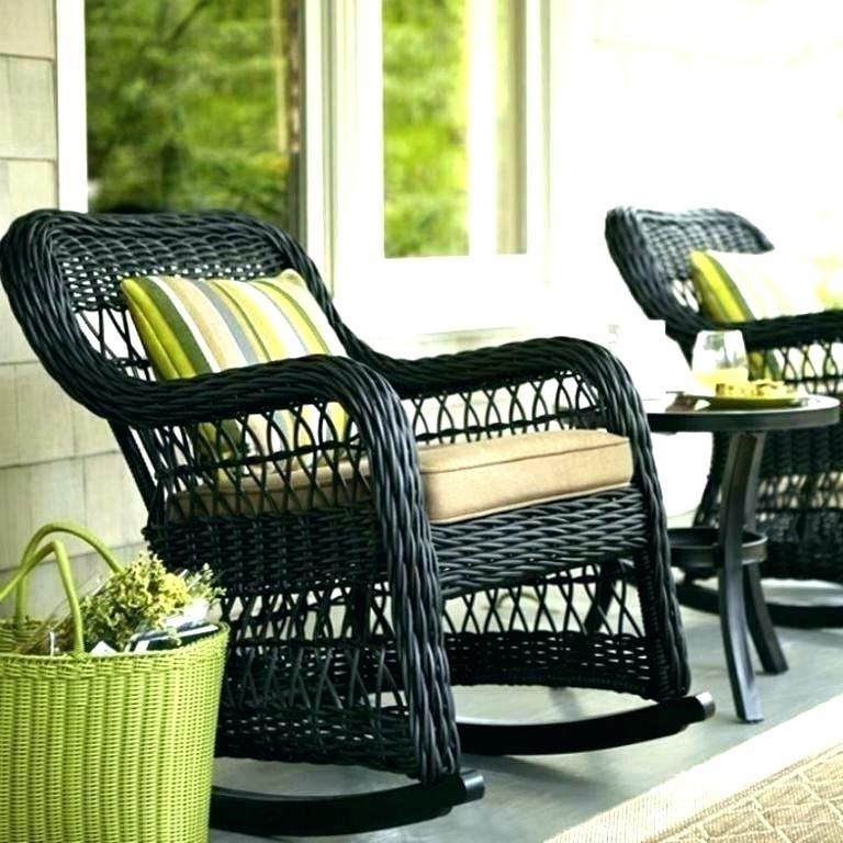 Most Up To Date Outdoor Rocking Chairs With Cushions Pertaining To Resin Wicker Rocking Chair Wicker Rocking Chair Cushions Black Resin (View 9 of 20)