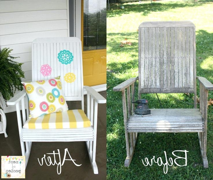 Most Up To Date Outdoor Vinyl Rocking Chairs In Formidable Before After Update Your Rocking Chairs With Paint (View 8 of 20)