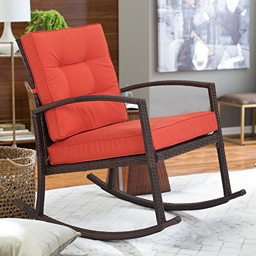 Most Up To Date Red Patio Rocking Chairs With Diensday All Weather Wicker Dark Brown Rocking Chair With Red Orange (View 12 of 20)
