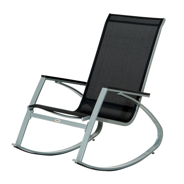 Most Up To Date Shop Outsunny Padded Steel Sling Porch Rocker Patio Chair – Free In Padded Patio Rocking Chairs (View 11 of 20)