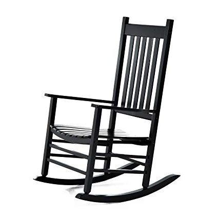 Newest Black Rocking Chairs For Amazon : Outsunny Porch Rocking Chair – Outdoor Patio Wooden (View 5 of 20)