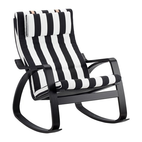 Newest Black Rocking Chairs Pertaining To Poäng Rocking Chair Black Brown/stenli Black/white – Ikea (Gallery 18 of 20)