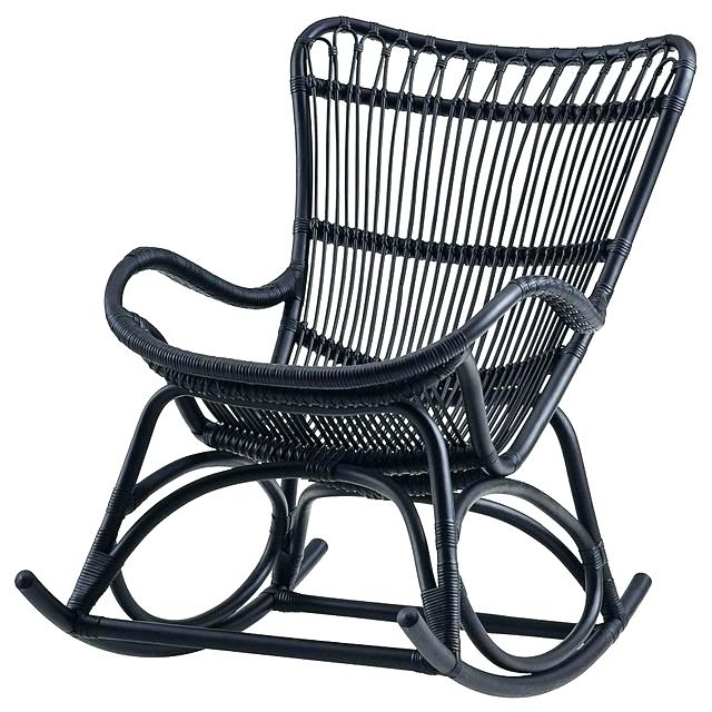 Newest Decoration: Black Wicker Rocking Chair Outdoor Chairs Dining Room Within Black Patio Rocking Chairs (View 9 of 20)