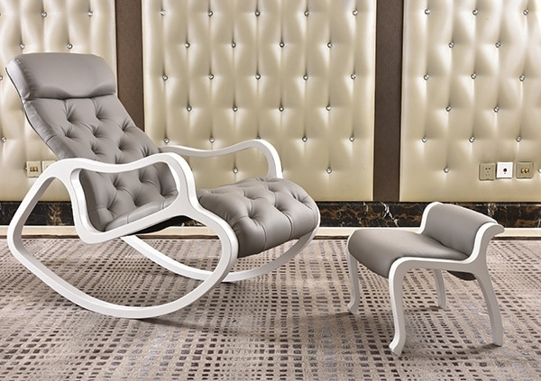 Newest Leather Upholstered Chaise Lounge With Ottoman Set White Finish Wood Throughout Rocking Chairs For Living Room (View 7 of 20)