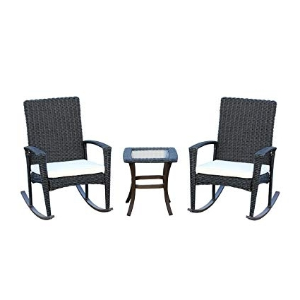 Newest Manhattan Patio Grey Rocking Chairs With Regard To Amazon : Outsunny 3 Piece Outdoor Rocking Chair And Table Set (View 11 of 20)