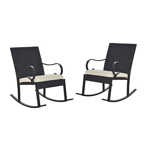 Newest Muriel Outdoor Wicker Rocking Chair With Cushion (set Of 2), Dark Inside Outdoor Wicker Rocking Chairs With Cushions (View 20 of 20)