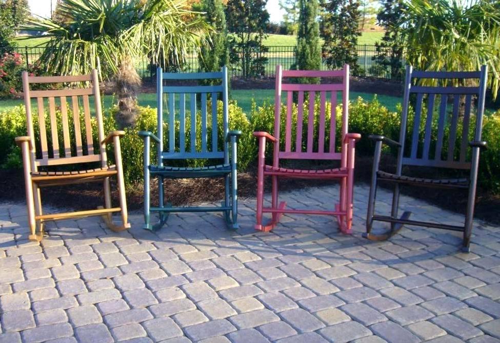 Newest Outdoor Patio Rocking Chairs Wonderful Dark Brown Wicker Chair Regarding Outdoor Patio Rocking Chairs (Gallery 16 of 20)