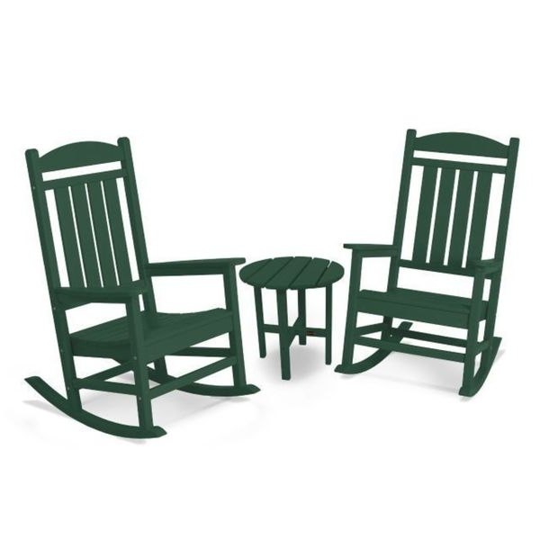 Newest Shop Polywood Presidential 3 Piece Outdoor Rocking Chair Set With Throughout Outdoor Rocking Chairs With Table (View 10 of 20)