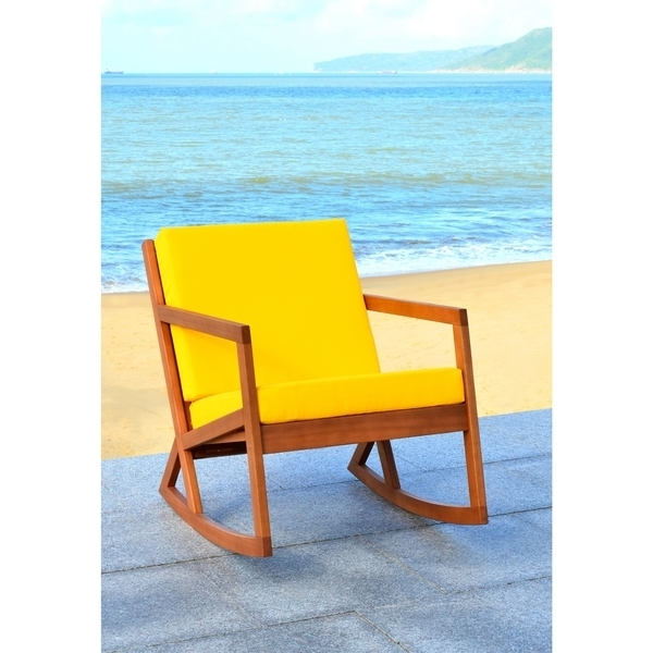 Newest Shop Safavieh Outdoor Living Vernon Brown/ Yellow Rocking Chair – On With Regard To Yellow Outdoor Rocking Chairs (Gallery 16 of 20)