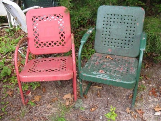 Newest Vintage Metal Rocking Patio Chairs Inside Vintage Metal Outdoor Rocking Chairs – Fripons Designs (View 11 of 20)