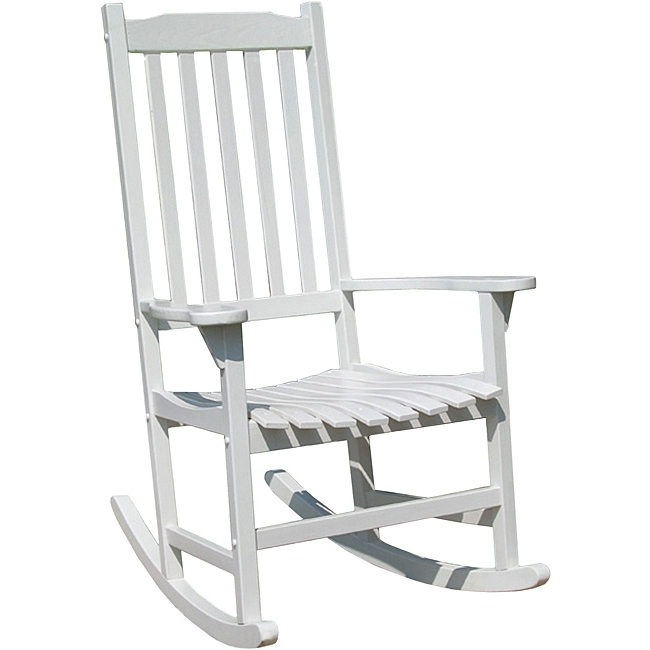 Outdoor Patio Rocking Chair Painted Single Wooden Seat Weather In 2018 White Patio Rocking Chairs (View 10 of 20)