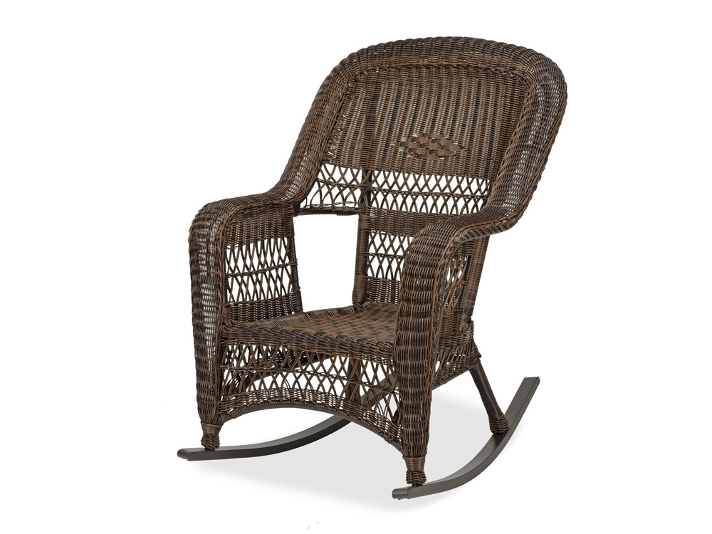 Outdoor Patio Rocking Chairs Intended For Newest Lakeshore Aluminum & Resin Wicker Rocking Chair – Fortunoff Backyard (View 12 of 20)