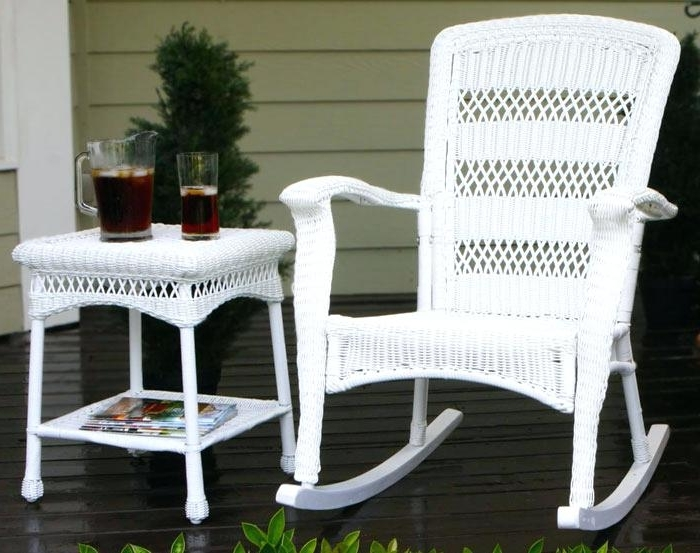 Outdoor Patio Rocking Chairs Wonderful Dark Brown Wicker Chair Regarding Most Recently Released White Patio Rocking Chairs (View 11 of 20)