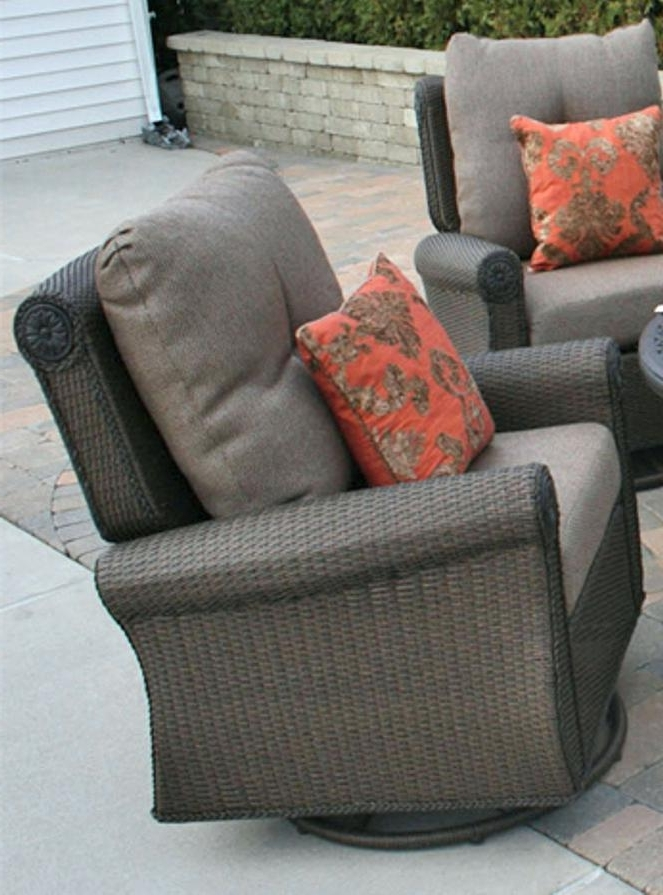 Outdoor Plastic Wicker Rocking Chairs. Outdoor Wicker Patio Swing Pertaining To Popular Wicker Rocking Chairs Sets (Gallery 11 of 20)