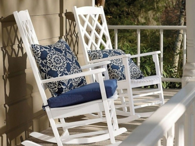 Outdoor Rocking Chairs With Cushions With Recent Furniture: Sensational Patio Rocking Chair Cushions Applied To Your (View 15 of 20)