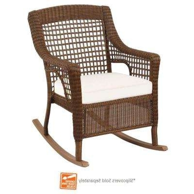 Outdoor Wicker Rocking Chairs With Cushions In Favorite Wicker Patio Furniture – Rocking Chairs – Patio Chairs – The Home Depot (View 7 of 20)