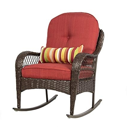 Outdoor Wicker Rocking Chairs With Cushions Pertaining To Latest Amazon : Best Choice Products Wicker Rocking Chair Patio Porch (Gallery 12 of 20)