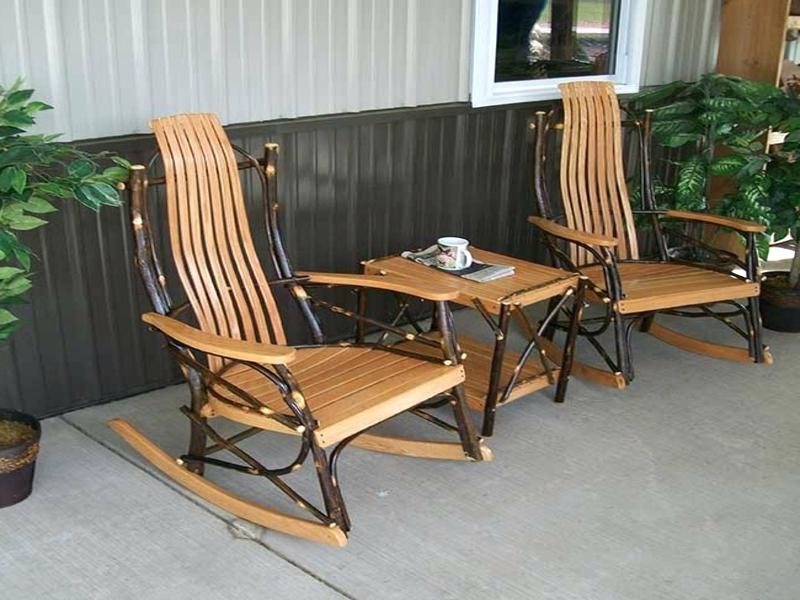 Outside Rocking Chair Sets With Preferred Rocking Patio Furniture Set Image Of Front Porch Rocking Chairs (Gallery 8 of 20)