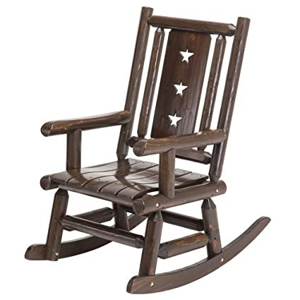 Oversized Patio Rocking Chairs Regarding Most Recent Amazon : Wood Outdoor Rocking Chair Rustic Porch Rocker Heavy (View 16 of 20)