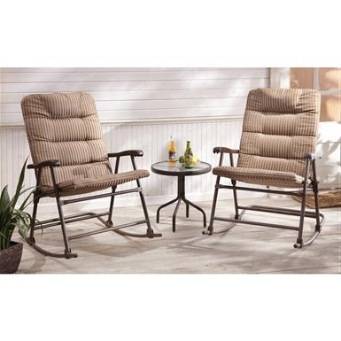 Padded Patio Rocking Chairs Throughout 2018 Castlecreek Padded Outdoor Rocking Chair Set, 3 Piece – (View 9 of 20)