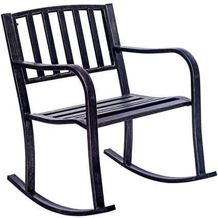 Patio Metal Rocking Chairs For Famous Amazon : Giantex Patio Metal Porch Rocking Chair Seat Deck (View 10 of 20)