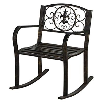 Patio Metal Rocking Chairs For Fashionable Amazon: New Bronze Patio Metal Rocking Chair Porch Seat Deck (View 11 of 20)