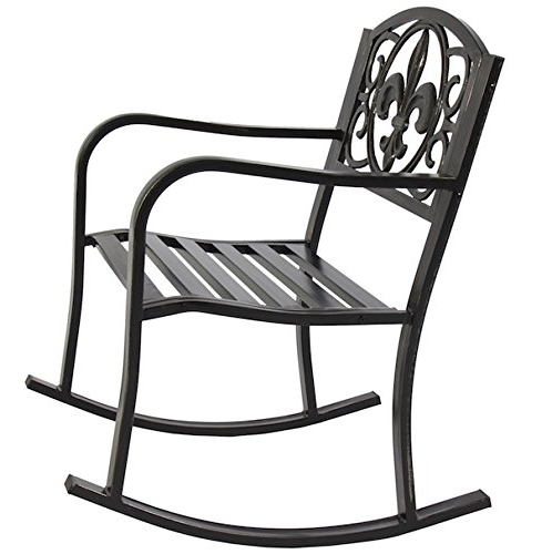Patio Rocking Chairs And Gliders Within Current Patio Rocking Chair Durable Wrought Iron Construction Porch Seat (View 16 of 20)