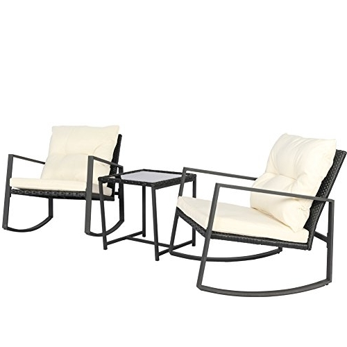 Patio Rocking Chairs And Table With Regard To Newest Kosycosy Outdoor 3 Pieces Patio Rocking Set Bistro Set Black Wicker (View 13 of 20)