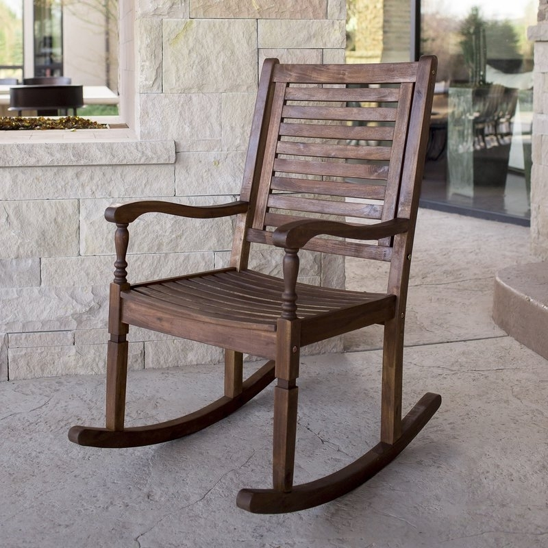 Patio Rocking Chairs With Covers Regarding Most Current Three Posts Zinnia Solid Acacia Wood Patio Rocking Chair & Reviews (View 11 of 20)