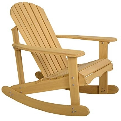 Patio Wooden Rocking Chairs Throughout Most Popular Amazon : Giantex Adirondack Chair Outdoor Natural Fir Wood (View 10 of 20)