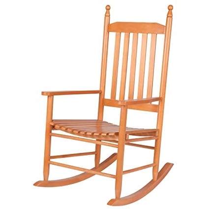 Patio Wooden Rocking Chairs Within Newest Amazon : Giantex Wood Outdoor Rocking Chair, Wooden Rocking (View 11 of 20)