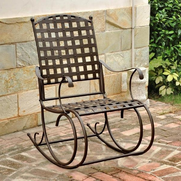 Patio Wrought Iron Metal Rocking Chair Antique High Back Deep Intended For Preferred Wrought Iron Patio Rocking Chairs (View 8 of 20)