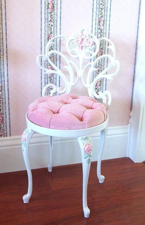 Pink Chair Cushion Vintage White Scrolly Boudoir Vanity Chair Stool Inside Most Recently Released Rocking Chairs At Roses (View 8 of 20)