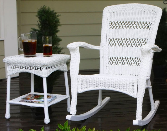 Plantation Coastal White Wicker Outdoor Rocking Chair With Regard To Most Up To Date Wicker Rocking Chairs For Outdoors (View 11 of 20)