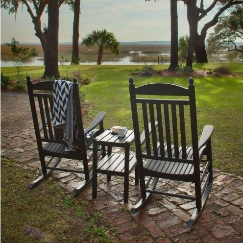 Polywood Jefferson 3 Piece Recycled Plastic Wood Patio Rocking Chair With Regard To Trendy Outside Rocking Chair Sets (View 11 of 20)